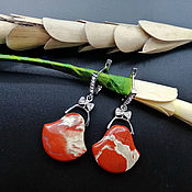 Украшения handmade. Livemaster - original item Large 925 sterling silver earrings building with the red Jasper