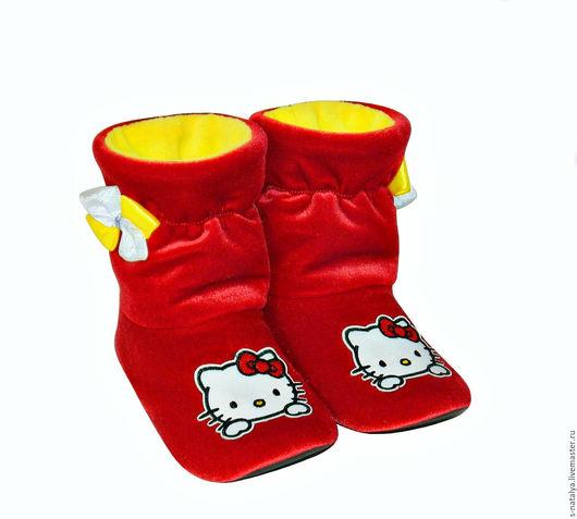 """Обувь ручной работы. Ярмарка Мастеров - ручная работа. Купить Сапожки """" Китти """" из бархата. Handmade. Ярко-красный"""