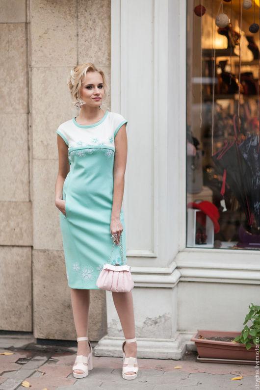 Платья ручной работы. Ярмарка Мастеров - ручная работа. Купить платье Menta 1. Handmade. Мятный, платье, платье с вышивкой