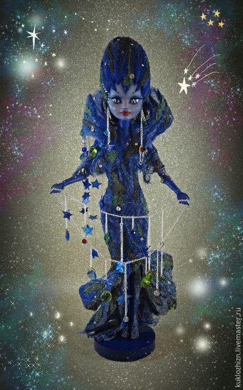 """Коллекционные куклы ручной работы. Ярмарка Мастеров - ручная работа. Купить ООАК куклы Эйлин """"Ночь"""". Handmade. Тёмно-синий"""