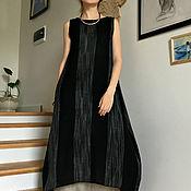 Одежда ручной работы. Ярмарка Мастеров - ручная работа Платье-туника льняное BLACK ANGEL. Handmade.