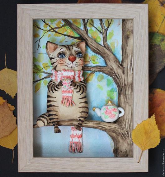 Животные ручной работы. Ярмарка Мастеров - ручная работа. Купить Осеннее чаепитие. Handmade. Комбинированный, кот, чай, кухня, чаепитие