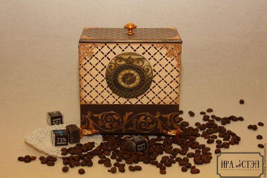"""Корзины, коробы ручной работы. Ярмарка Мастеров - ручная работа. Купить Короб для хранеия """"Время пить чай"""". Handmade."""
