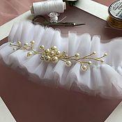 Подвязки ручной работы. Ярмарка Мастеров - ручная работа Подвязка невесты свадебная белая. Handmade.