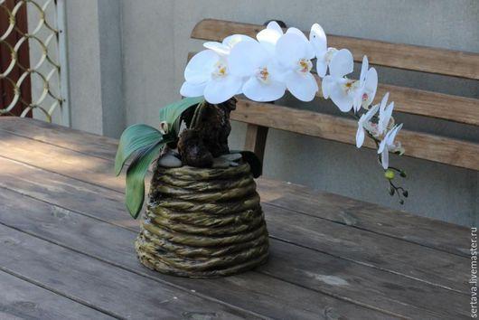 Интерьерные композиции ручной работы. Ярмарка Мастеров - ручная работа. Купить Композиция из искусственных орхидей .. Handmade. Коричневый, орхидея фаленопсис