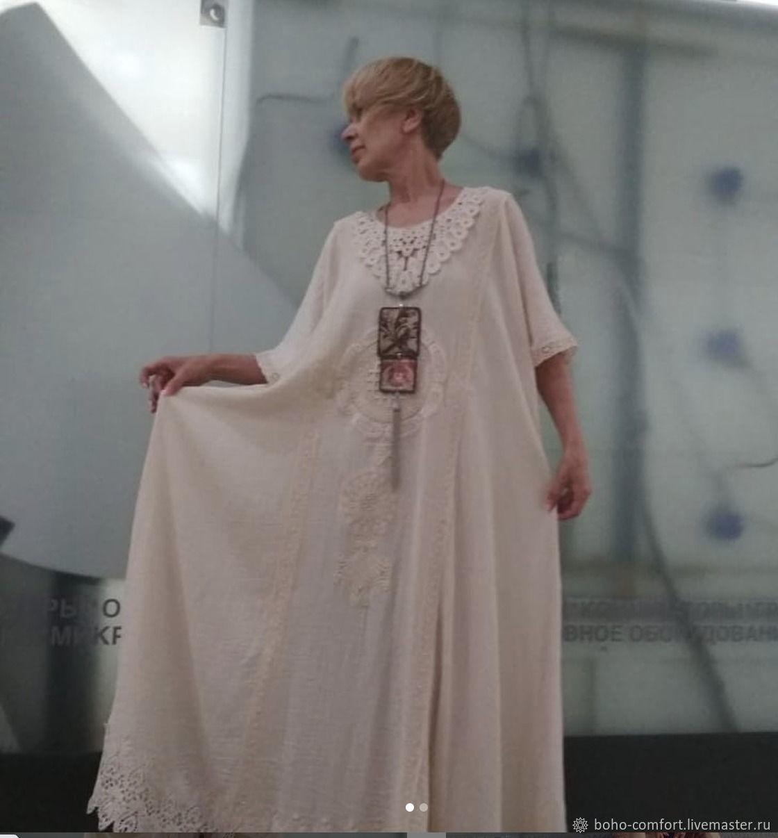 Сливочное платье лен с ришелье, 70 размер, Платья, Москва,  Фото №1