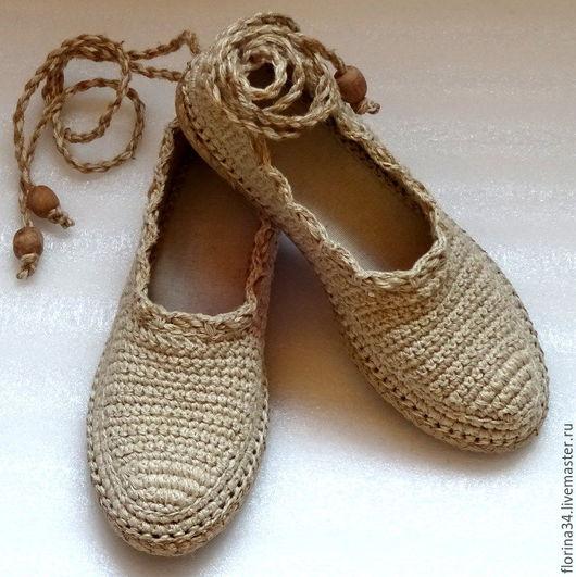 Обувь ручной работы. Ярмарка Мастеров - ручная работа. Купить Балетки уличные Лето в разгаре р.39, беж, бохо. Handmade.