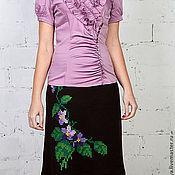 Одежда ручной работы. Ярмарка Мастеров - ручная работа юбка вязаная тёплая с вышивкой  Маргаритки. Handmade.