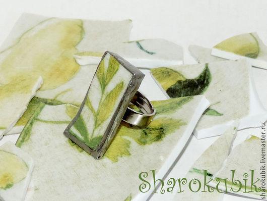 """Кольца ручной работы. Ярмарка Мастеров - ручная работа. Купить Кольцо """"Счастливая зелень"""" керамика. Handmade. Салатовый, тарелка, листья"""