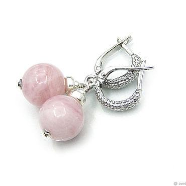 Украшения ручной работы. Ярмарка Мастеров - ручная работа Серьги с розовым кварцем в серебре. Handmade.