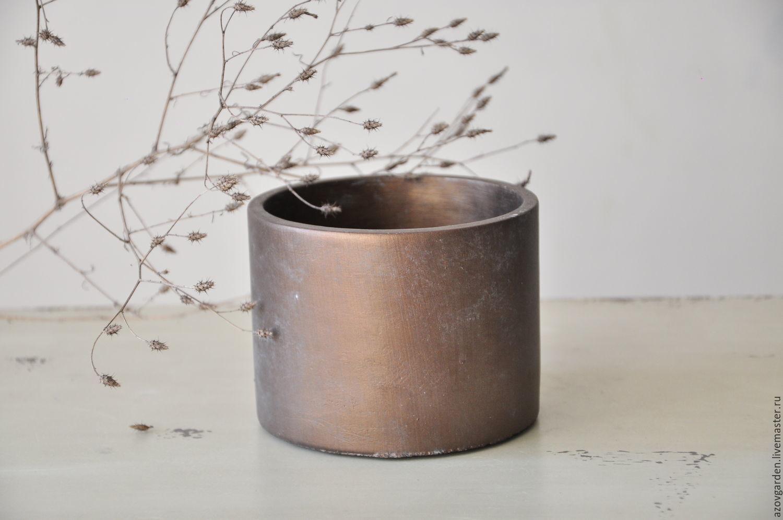 Concrete round planter style, Minimalism, Loft, for cacti, Pots1, Azov,  Фото №1