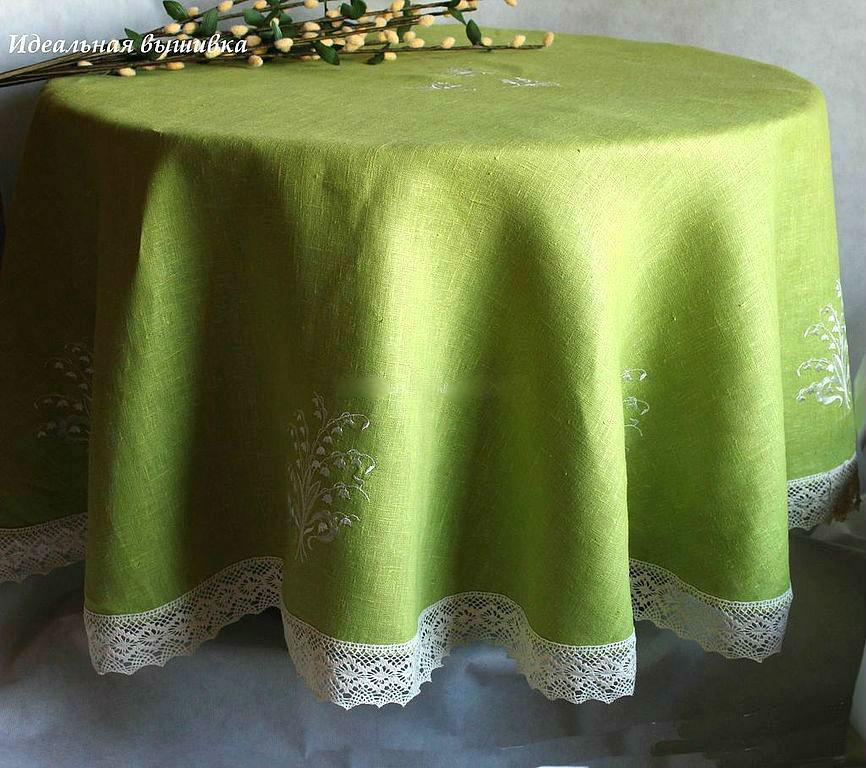 Текстиль, ковры ручной работы. Ярмарка Мастеров - ручная работа. Купить Круглая льняная скатерть 'Ландыши на зеленом'. Handmade. Ландыши