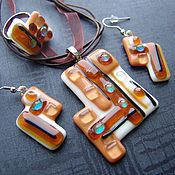 Украшения handmade. Livemaster - original item A set of jewelry Geometry in glass. Glass ornaments.Fusing.. Handmade.