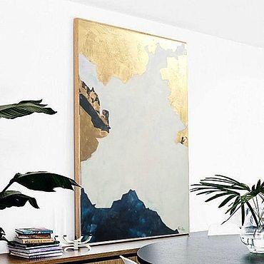 """Картины и панно ручной работы. Ярмарка Мастеров - ручная работа """"Греция"""" абстракция под интерьер с золотой поталью. Handmade."""