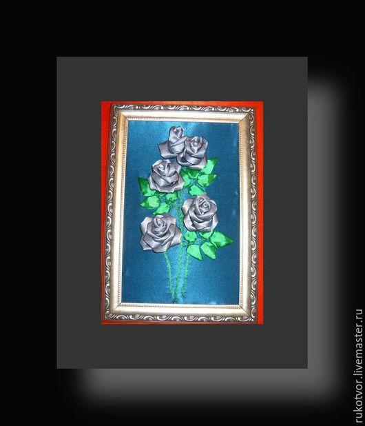 Картины цветов ручной работы. Ярмарка Мастеров - ручная работа. Купить Серебристые розы. Handmade. Картина-панно, картина с розами