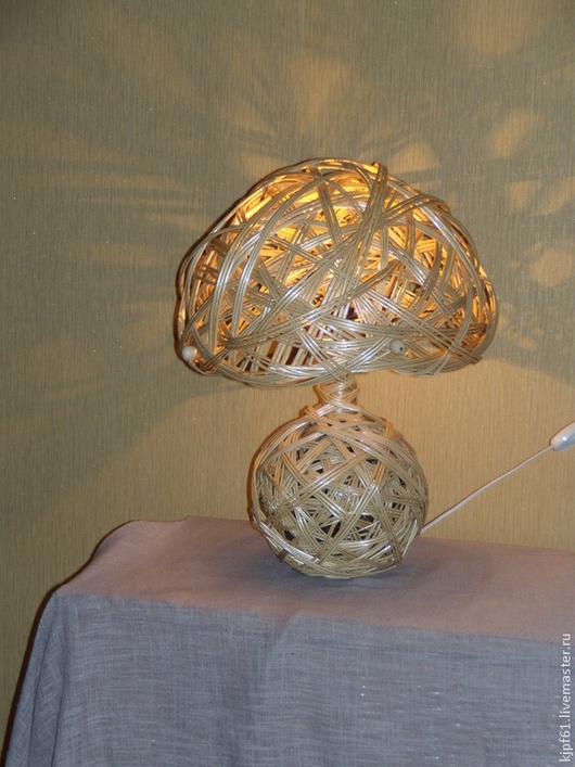 Освещение ручной работы. Ярмарка Мастеров - ручная работа. Купить настольная лампа из ивового прута Грибок. Handmade. Бежевый, Декор