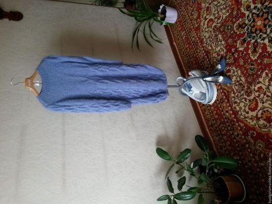 Платья ручной работы. Ярмарка Мастеров - ручная работа. Купить платье ЗИМУШКА. Handmade. Голубой, мохер, платье, вязание спицами