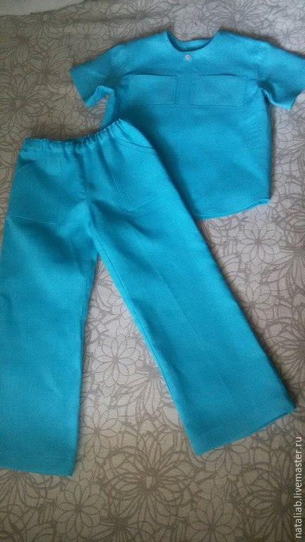 Одежда для мальчиков, ручной работы. Ярмарка Мастеров - ручная работа. Купить Детский льняной костюм. Handmade. Бирюзовый, льняная одежда