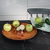 Посуда handmade. Livemaster - original item Wooden dish for serving kebabs and snacks with a sauce bowl T76. Handmade.