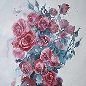 """Картины и панно ручной работы. Ярмарка Мастеров - ручная работа Акварель """"Розы"""". Handmade."""