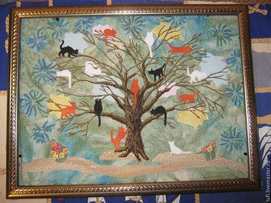 """Животные ручной работы. Ярмарка Мастеров - ручная работа. Купить Квилт """"Коты прилетели"""". Handmade. Разноцветный, коты, Кошки, весна"""