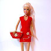 Куклы и игрушки ручной работы. Ярмарка Мастеров - ручная работа Вязанное платье для куклы Барби Одежда для Барби. Handmade.