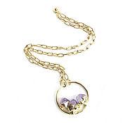 Украшения handmade. Livemaster - original item Purple amethyst pendant, round pendant, three stone pendant. Handmade.