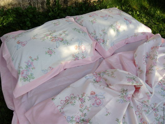 Текстиль, ковры ручной работы. Ярмарка Мастеров - ручная работа. Купить Детское постельное белье из сатина и поплина «Феечки» 100% хлопок. Handmade.