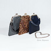 handmade. Livemaster - original item Bag with clasp black silver genuine leather. Handmade.