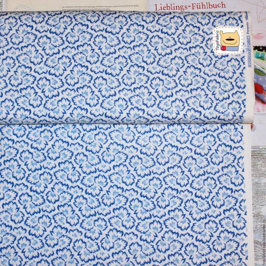 Шитье ручной работы. Ярмарка Мастеров - ручная работа. Купить Ткань для пэчворка Синие листья (20523) американский хлопок. Handmade.