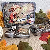 Сувениры и подарки handmade. Livemaster - original item Hello, school! - magnets, wooden postcards. Handmade.