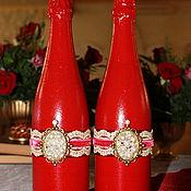 Свадебный салон ручной работы. Ярмарка Мастеров - ручная работа арт. (0001) Оформление свадебного шампанского. Handmade.