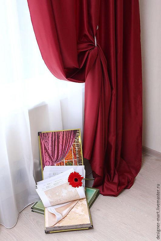 Текстиль, ковры ручной работы. Ярмарка Мастеров - ручная работа. Купить Шторы бордовые из сатена. Handmade. Бордовый, готовые шторы