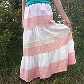 Одежда ручной работы. Ярмарка Мастеров - ручная работа Летняя юбка из 100% льна. Handmade.
