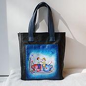 Сумки и аксессуары handmade. Livemaster - original item Leather bag with double-sided painting to order for Polina.. Handmade.
