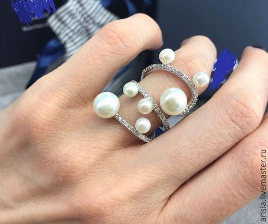 Винтажные украшения. Ярмарка Мастеров - ручная работа. Купить Кольцо Chanel Grand Saturn серебро, жемчуг, цирконы. Handmade. Серебряный