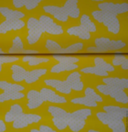 Шитье ручной работы. Ярмарка Мастеров - ручная работа. Купить Хлопок Бабочки на желтом  (Польша). Handmade. Желтый, хлопок, ткани