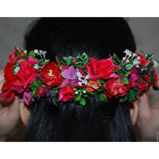 Диадемы, обручи ручной работы. Ярмарка Мастеров - ручная работа. Купить Ободок с цветами 5, венок из цветов. Handmade. Комбинированный