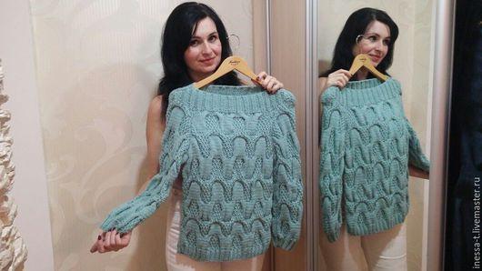 Inessa_T Вязаный свитер Мятный василек Вяжу с любовью