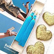 Украшения handmade. Livemaster - original item Earrings-brush Stylish blue bright blue blue turquoise gold. Handmade.