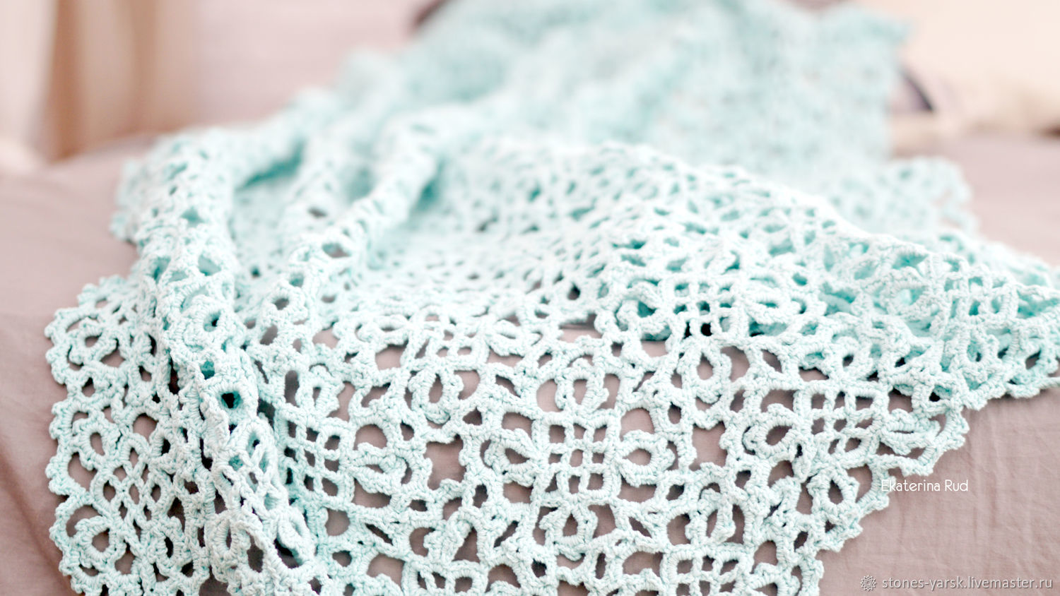 Openwork knitted blanket, bedspread ' Mint bliss', Blankets, Moscow,  Фото №1
