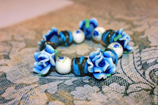 """Браслеты ручной работы. Ярмарка Мастеров - ручная работа. Купить Браслет """"Нежные цветы"""". Handmade. Синий, браслет, браслет из бусин"""