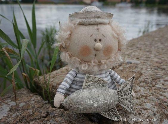 Fisherman and Fish Doll texstile, Stuffed Toys, Velikiy Novgorod,  Фото №1