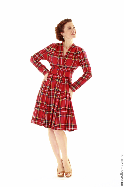 Платья ручной работы. Ярмарка Мастеров - ручная работа. Купить Теплое платье Графиня. Handmade. Ярко-красный, ретро стиль