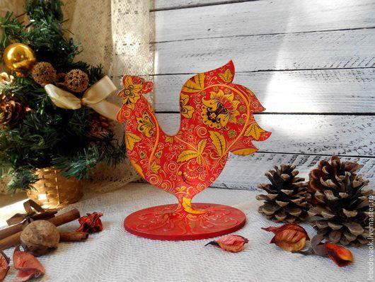 Новый год 2017 ручной работы. Ярмарка Мастеров - ручная работа. Купить Ярко-огненный Петух - символ 2017 года декупаж сувениры к празднику. Handmade.