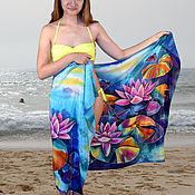 Одежда handmade. Livemaster - original item Silk pareo batik Lotus. Handmade.