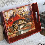 Для дома и интерьера handmade. Livemaster - original item Tray the Old mill terracotta decoupage. Handmade.