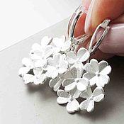 Earrings handmade. Livemaster - original item Earrings flower silver English lock - flowers grey silver. Handmade.