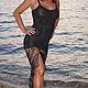 Платья ручной работы. Ярмарка Мастеров - ручная работа. Купить Платье вязаное Черный веер. Handmade. Черный, платье в пол