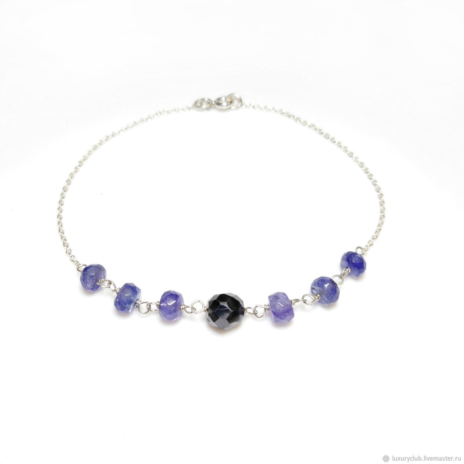 Bracelet with tanzanites and black diamond buy, Bead bracelet, Tolyatti,  Фото №1